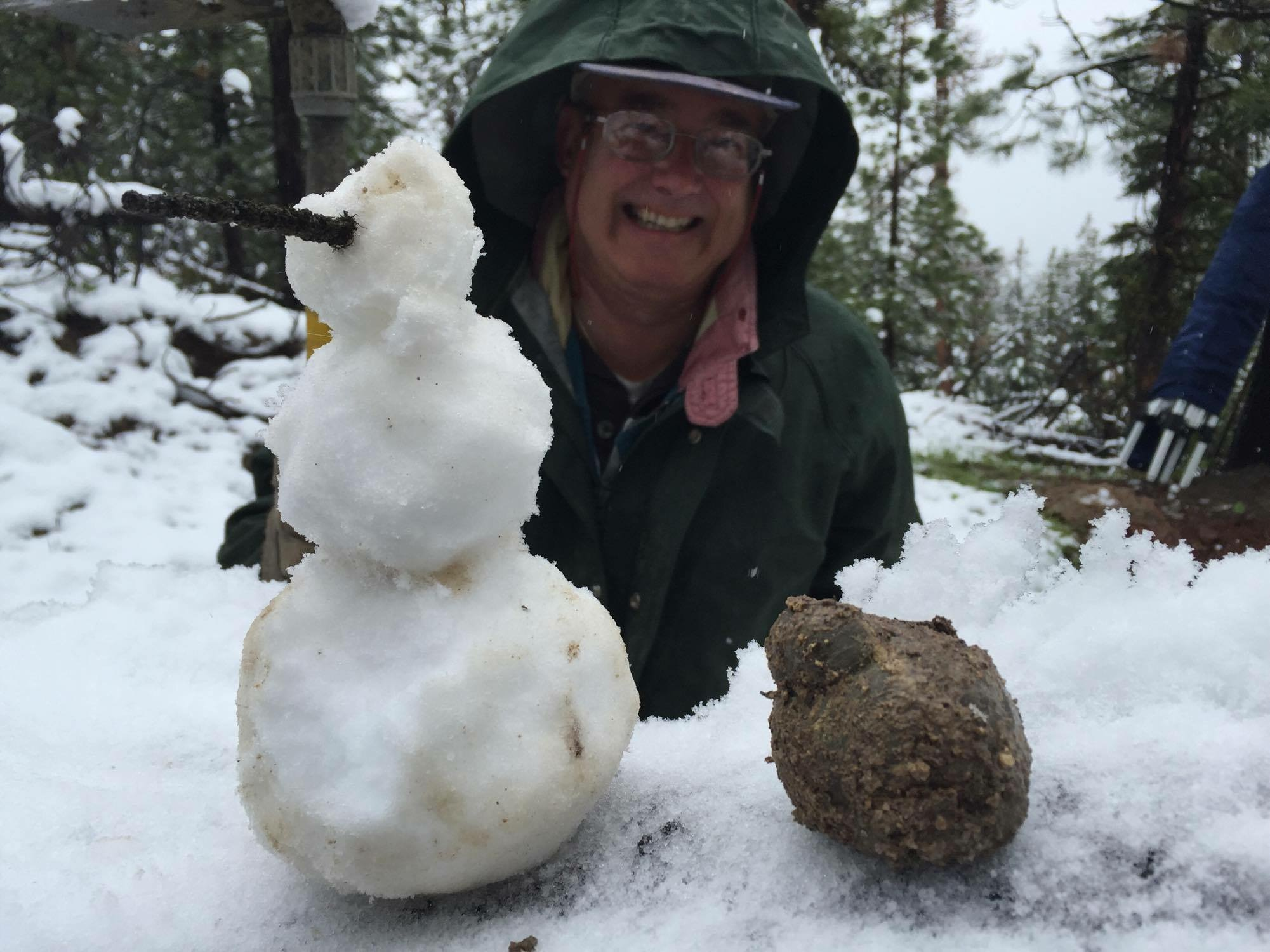 Snow digging is possible at Mud Ball Bed in Oregon summer